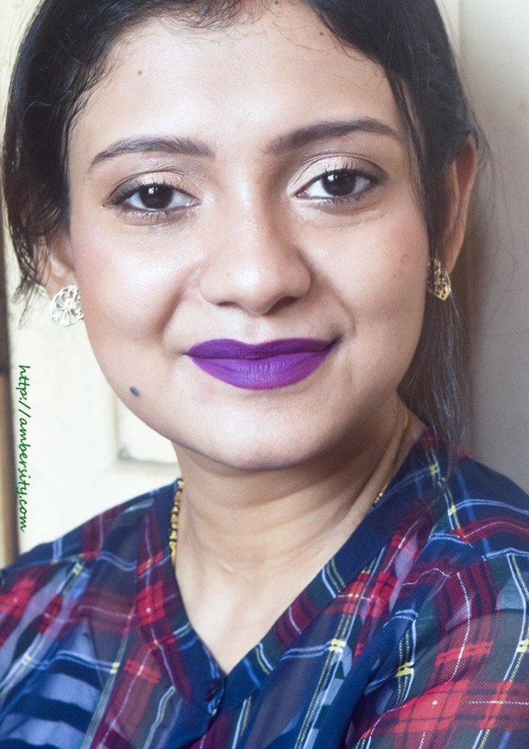 Purple Lips With Contoured Cheeks – Look Breakdown